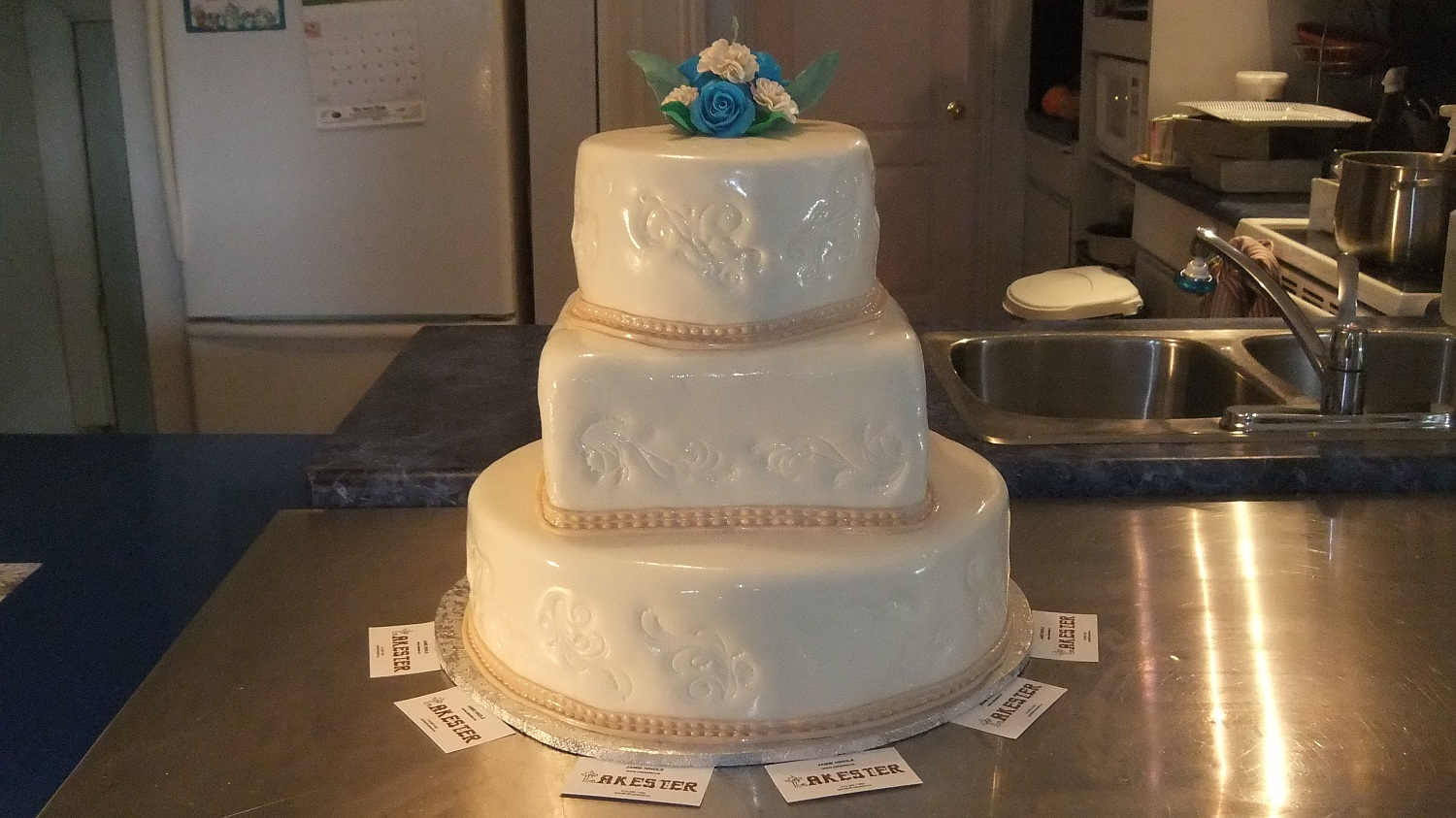 3 TIER CARNATION WEDDING CAKE